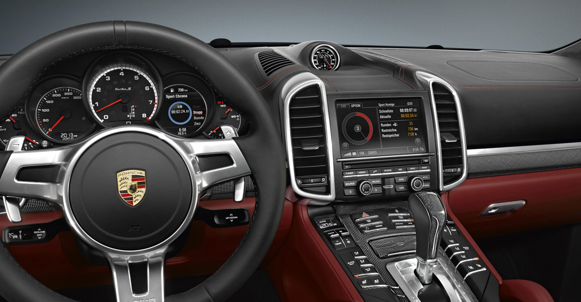 porsche cayenne turbo s dashboard that looks more like a spaceship than the starship enterprise